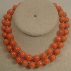VTG 2 strand Coral Plastic Beaded Choker Necklace